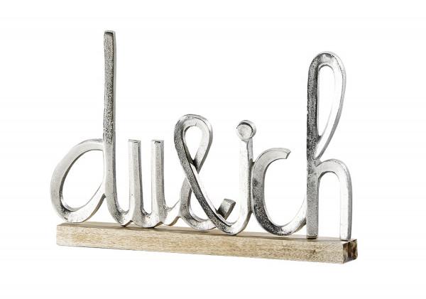 Modern lettering 'du & ich' silver on mango wood 41x5x29 cm