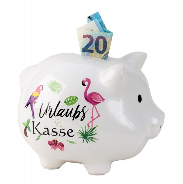Piggy bank moneybox funny pig holiday cashier ceramic white 18x14 cm