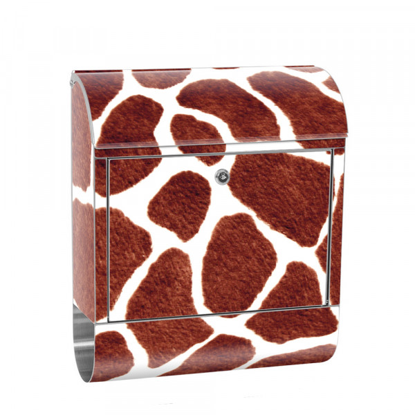 Stainless Steel Letterbox with Newspaper roll & Motif Giraffe Pattern Stains | No. 0435