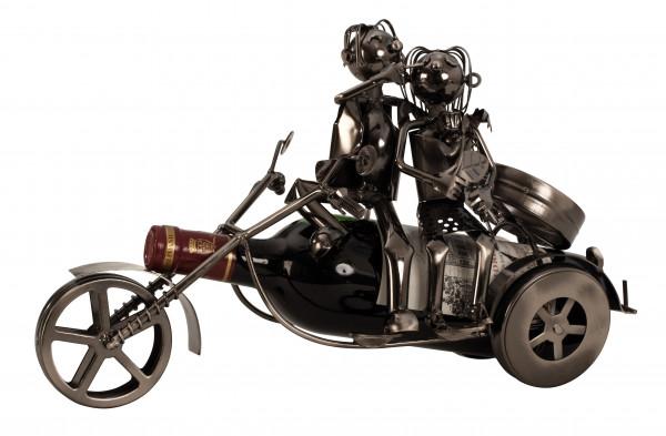 Moderner Wein Flaschenhalter Flascchenständer Paar auf Motorrad aus Metall in silber Höhe 20 cm Brei
