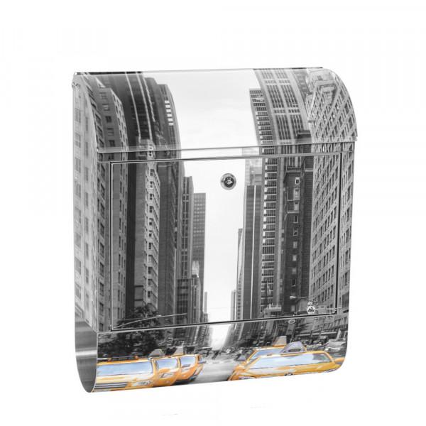 Edelstahlbriefkasten mit Zeitungsrolle & Motiv Manhattan Skyline | no. 0210