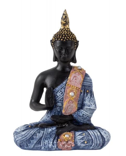 Moderne Skulptur Dekofigur Buddha aus Kunststein schwarz/blau 15x11 cm