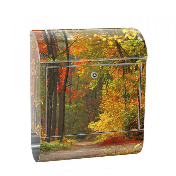 Edelstahlbriefkasten mit Zeitungsrolle & Motiv Bäume Herbst Laub | no. 0994