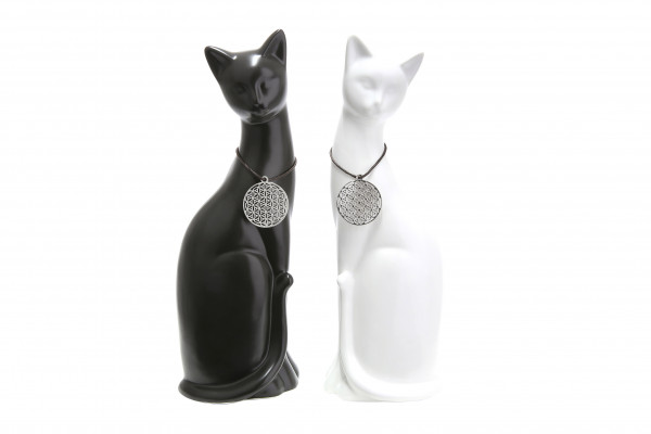 Modern sculpture deco figure cat sitting 2 pieces including amulet porcelain black / white height 30 cm