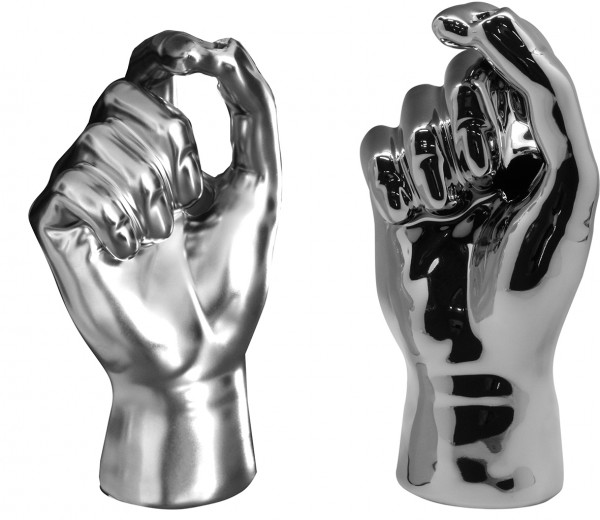 Modern vase deco vase in the shape of a hand made of ceramic silver glossy or matte height 20 cm