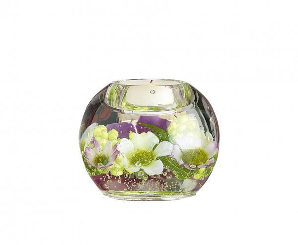 Moderner Teelichthalter Windlichthalter 'Lilly Fleur' aus Glas Durchmesser 9 cm *Exklusive Handarbei