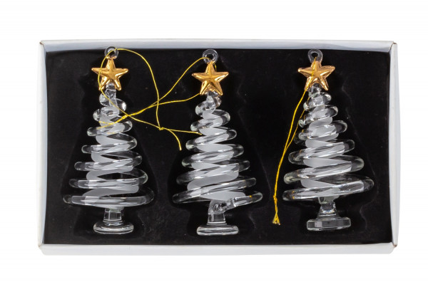 Modern Christmas tree pendant fir tree Christmas tree decoration SET of glass with 3 pieces height 8 cm