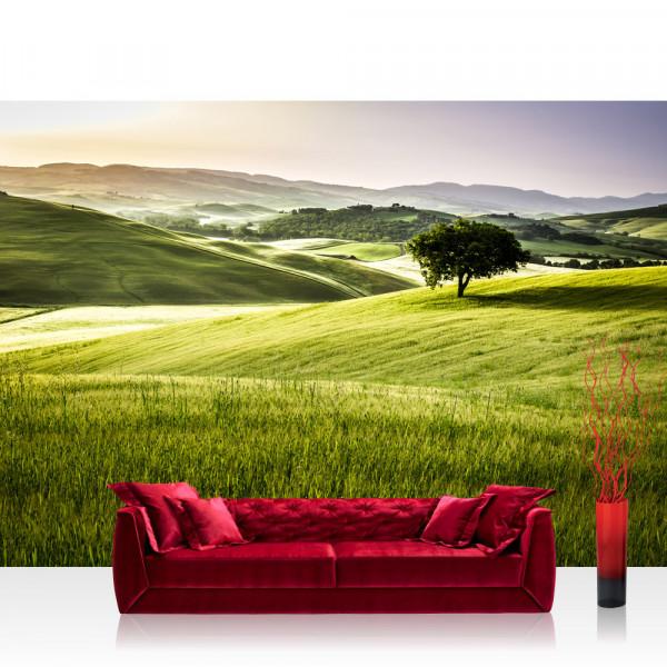 Vlies Fototapete Landschaft Tapete Feld Natur Ausblick Berge Sonne beige