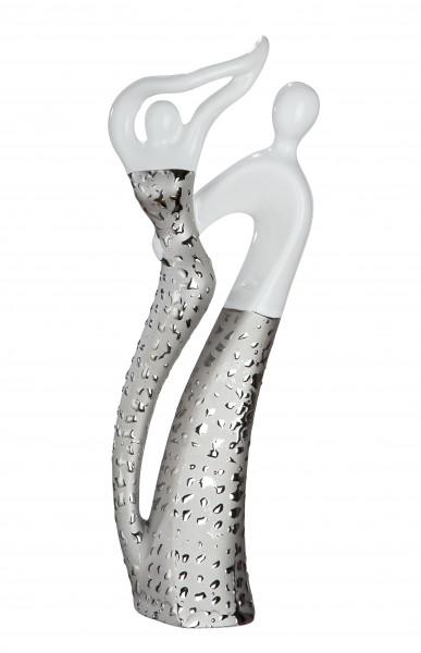 Moderne Skulptur Dekofigur weiß/silber glasiert mit Struktur aus Keramik Höhe 30 cm