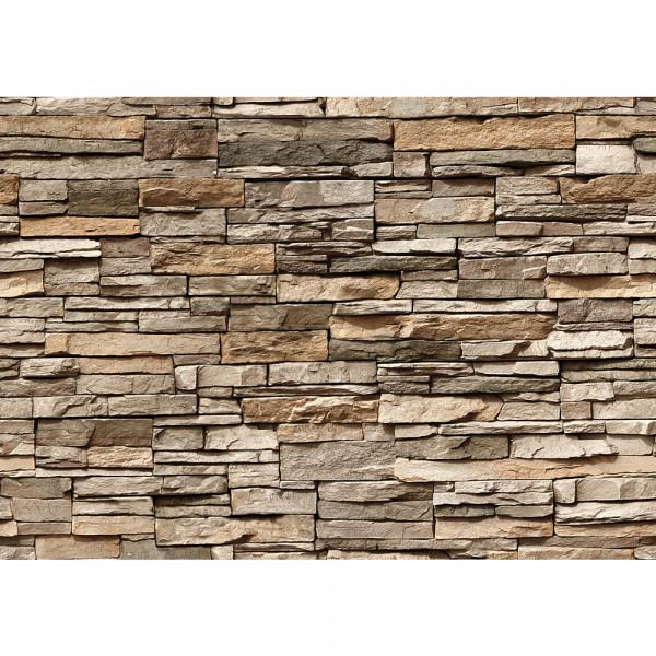 Vlies Fototapete Asian Stone Wall - braun - anreihbar Steinwand Tapete Steinoptik Stein Steine