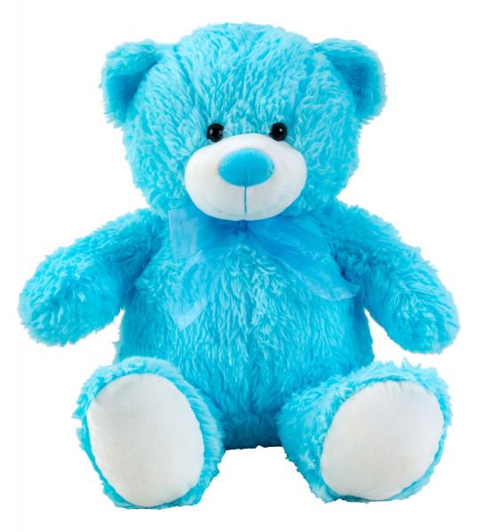 Teddybär Kuschelbär Blau mit Schleife 50 cm groß Plüschbär Kuscheltier samtig weich - zum liebhaben