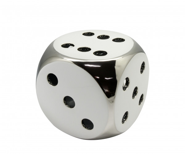 Sculpture Deco figure 'Lucky Dice' cube white / silver 9,5x9,5 cm