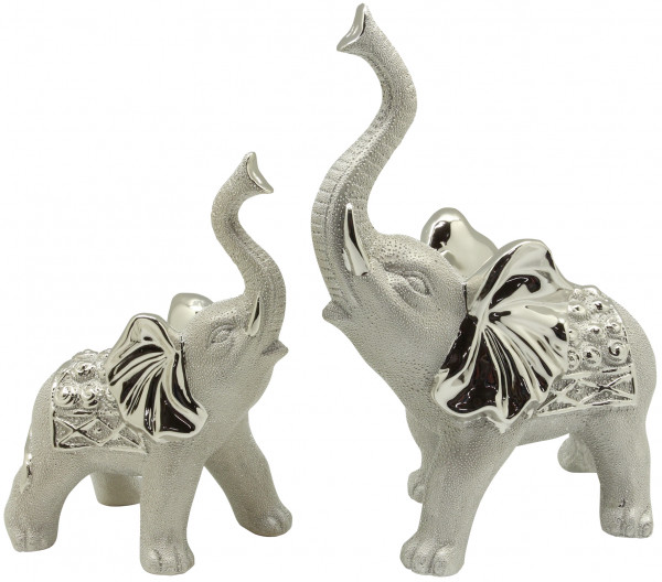 Moderne Skulptur Dekofigur Elefant aus Keramik silber champagner 18x19 cm *1 Stück*