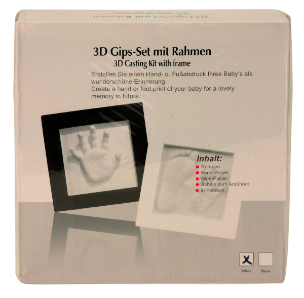Baby set including Frame 23x23cm with Plaster Kit for 3D Impression Baby imprint, plaster Set with photo frame black