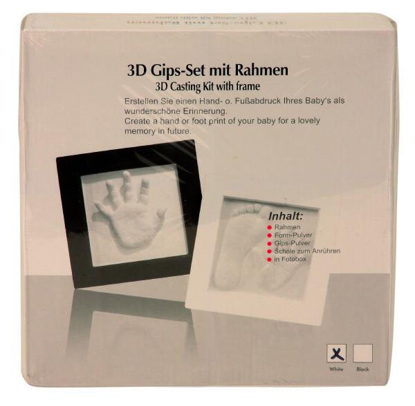 Babyset inklusive Rahmen 23x23cm mit Gips-Set für 3D Abdruck Baby-Abdruck, Gips Set mit Fotorahmen-S