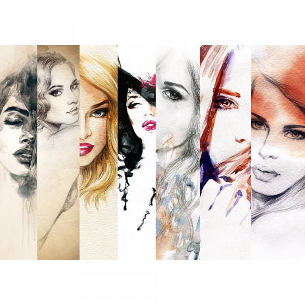 Vlies Fototapete faces of women Kunst Tapete Frauen Woman Zeichnung Gesichter Schön Beauty bunt