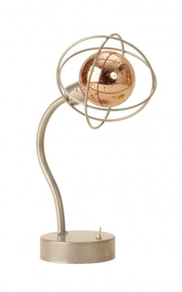 Moderne LED Tischlampe Kugel Silber Höhe 27,5 cm