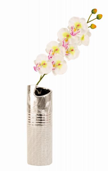 Moderne Deko Vase Blumenvase aus Keramik silber Höhe 30 cm