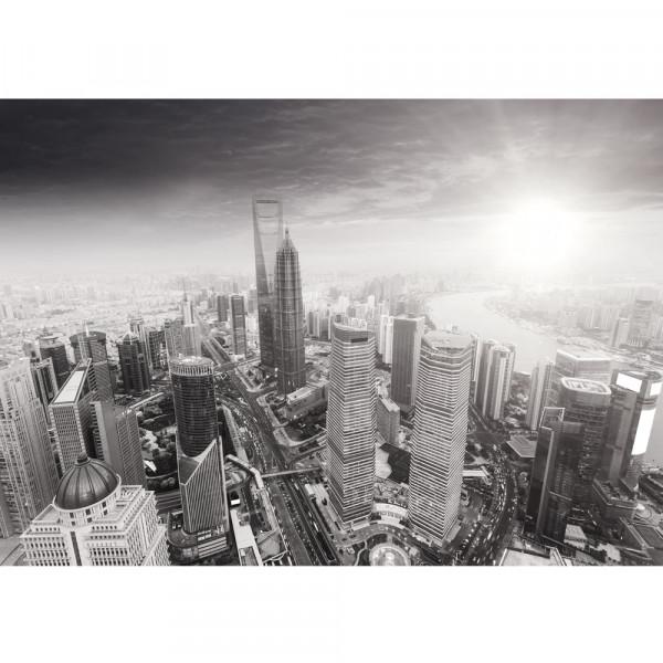 Vlies Fototapete Black and White Shanghai Sunset Skyline Shanghai Tapete Skyline Schanghai