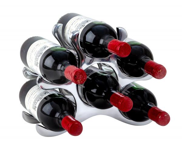 Modernes Weinregal Flaschenhalter zur Ablage von 6 Flaschen aus Metall Höhe 22 cm Breite 28 cm