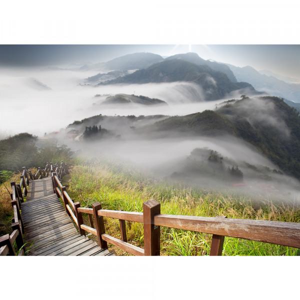 Vlies Fototapete Stairway from MountainLandschaft Tapete Berge Aussicht Alpen Urlaub wandern bunt