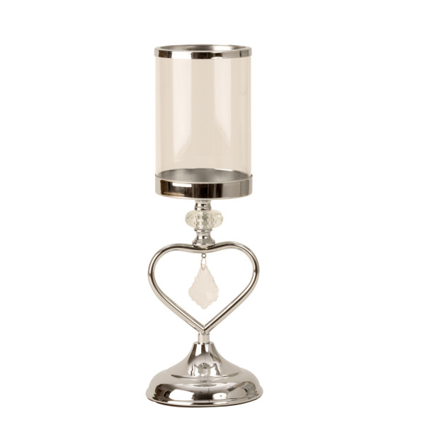 Modern lantern holder Candlestick lantern with heart Decoration made of metal / glass silver Height