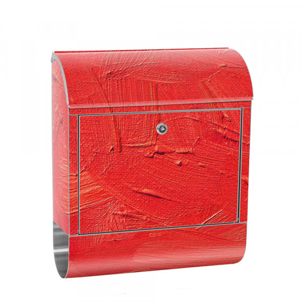Stainless Steel Letterbox with Newspaper roll & Motif Wiping Technique red | No. 0110