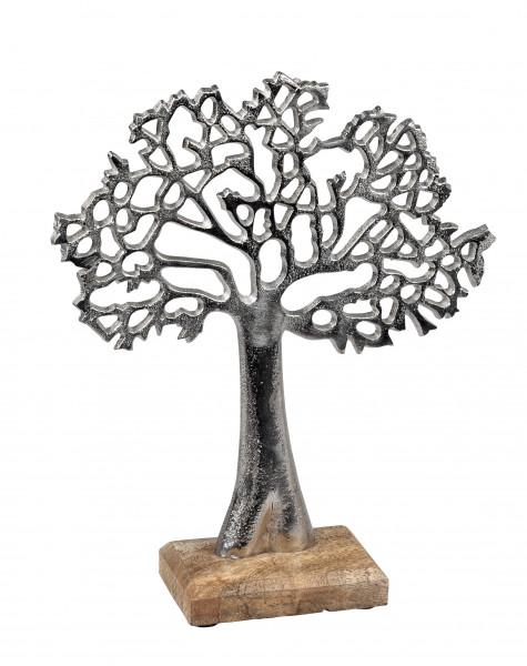 Moderne Skulptur Dekofigur Lebensbaum aus Manghoholz und Aluminium Höhe 27 cm