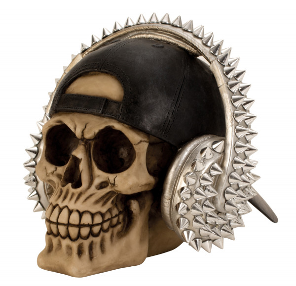Moderne coole Totenkopf Skulptur mit Basecap und Kopfhörern Höhe 15 cm Breite 19 cm