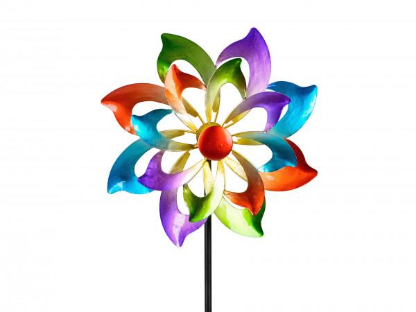 Windrad Windspiel Blume als Gartenstecker aus Metall blau, grün, lila und rot 122 cm D30 cm