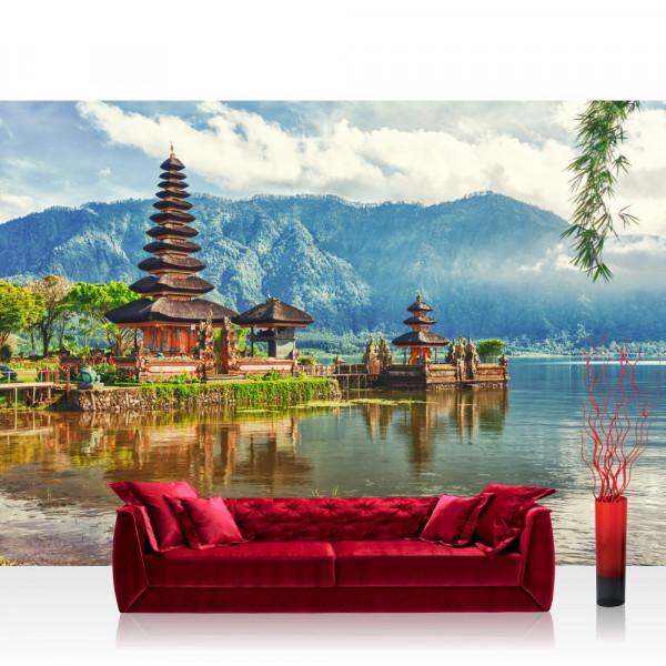 Vlies Fototapete Bali Tapete Bali Tempel Wasser Natur grau