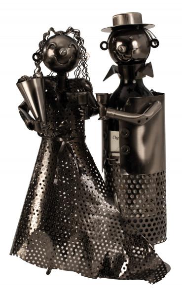 Moderner Wein Flaschenhalter Flaschenständer Hochzeitspaar aus Metall in silber Höhe 37 cm Breite 24