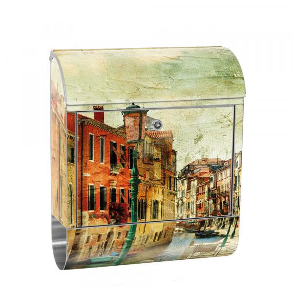 Edelstahlbriefkasten mit Zeitungsrolle & Motiv Venedig Italia Gebäude | no. 0257