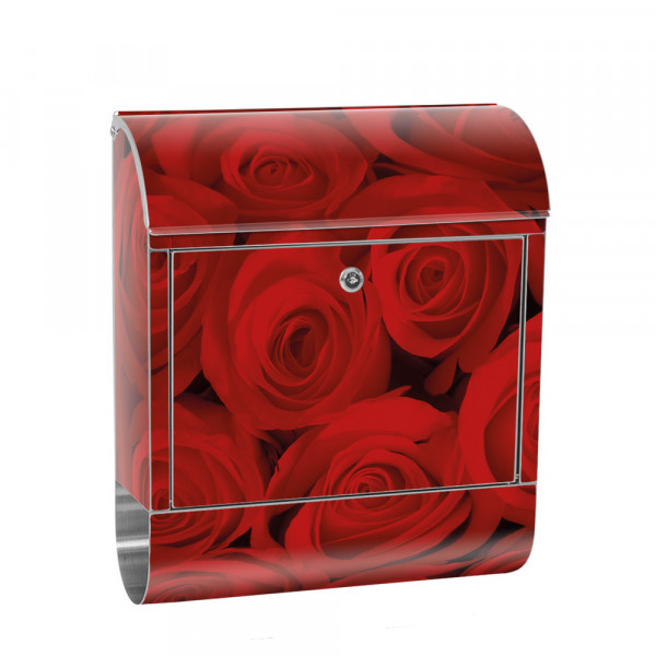 Stainless Steel Letterbox with Newspaper roll & Motif Roses Blossoms Flowers | No. 0726