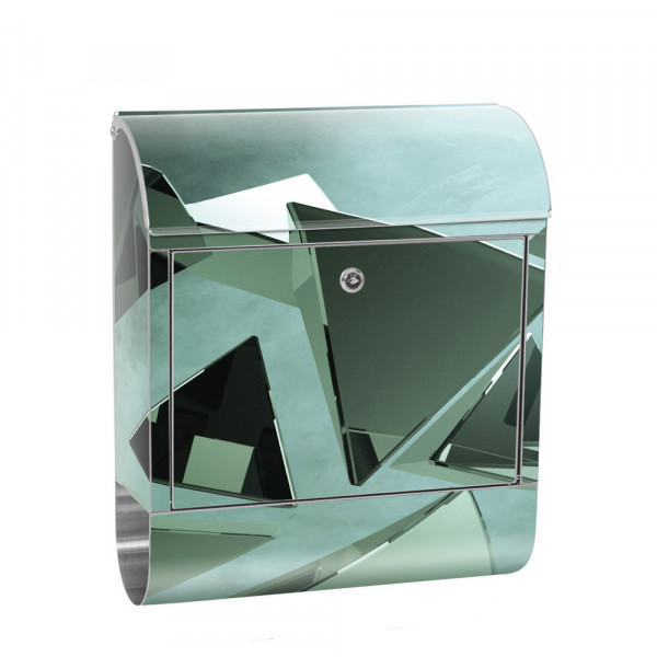 Stainless Steel Letterbox with Newspaper roll & Motif abstract Triangles | No. 0216
