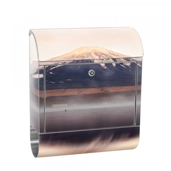 Stainless Steel Letterbox with Newspaper roll & Motif Mountains Clouds sun | No. 0262