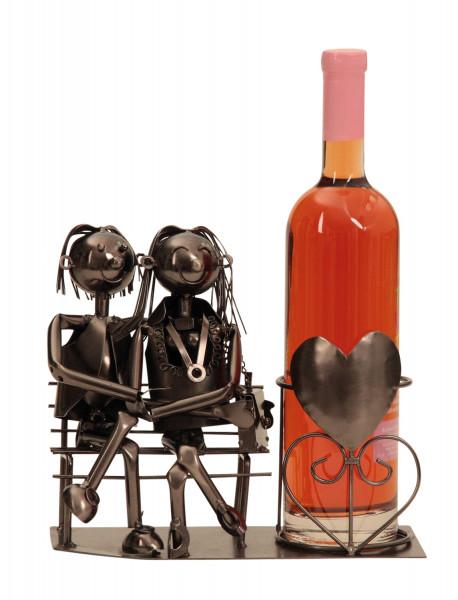 Moderner Wein Flaschenhalter Flaschenständer Paar auf Bank aus Metall in silber Höhe 22 cm Breite 25