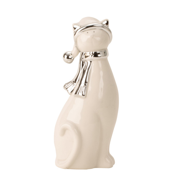 Modern sculpture Decoration figure cat made of porcelain in white / silver Height 21 cm Width 8,5cm