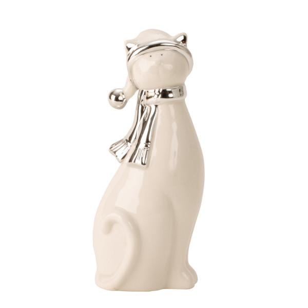 Moderne Skulptur Dekofigur Katze aus Porzellan stehend weiß/silber Höhe 21cm Breite 8,5cm