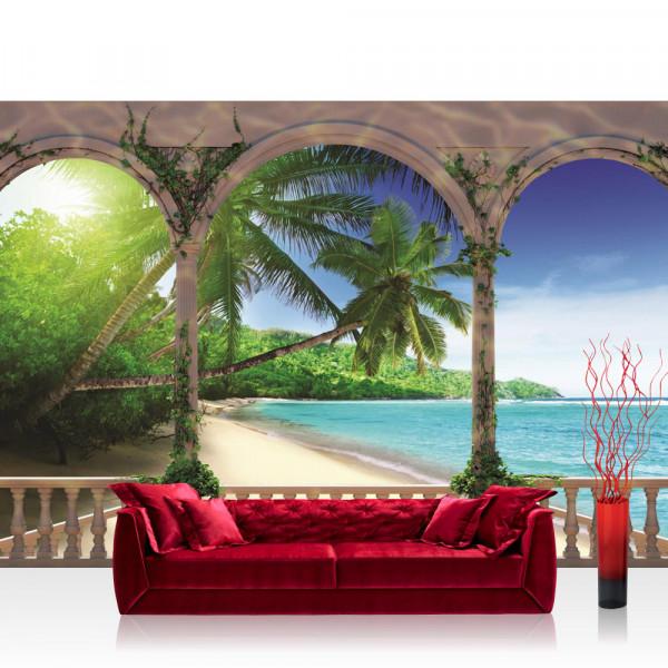 Vlies Fototapete Meer Tapete Bogen Strand Wasser Palmen Tropisch blau