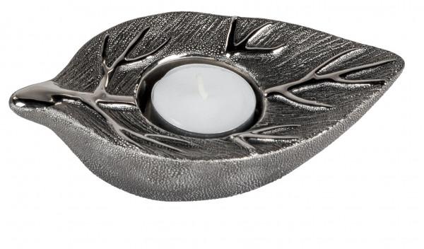 Moderner Teelichthalter Teelichtleuchte Baum aus Keramik silber 10 cm
