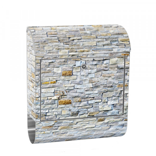 Stainless Steel Letterbox with Newspaper roll & Motif stone Stone Optic Wall | No. 0168