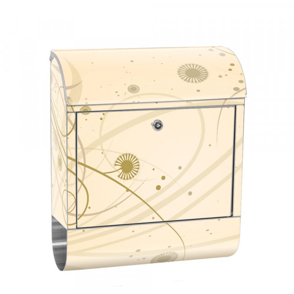 Stainless Steel Letterbox with Newspaper roll & Motif Ornaments nature | No. 0208