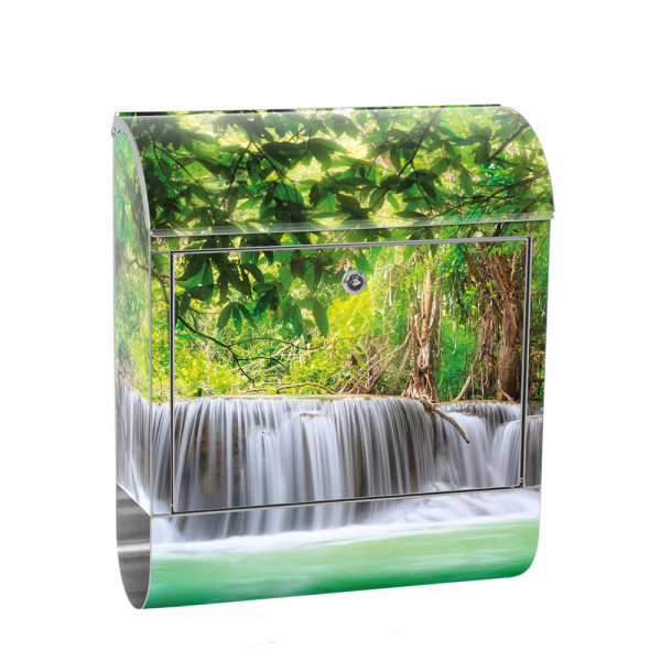 Stainless Steel Letterbox with Newspaper roll & Motif Waterfall Thailand | No. 0067