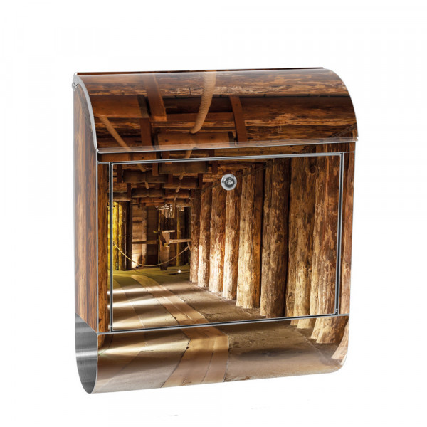 Stainless Steel Letterbox with Newspaper roll & Motif salt mine 3D Tunnel | No. 0027