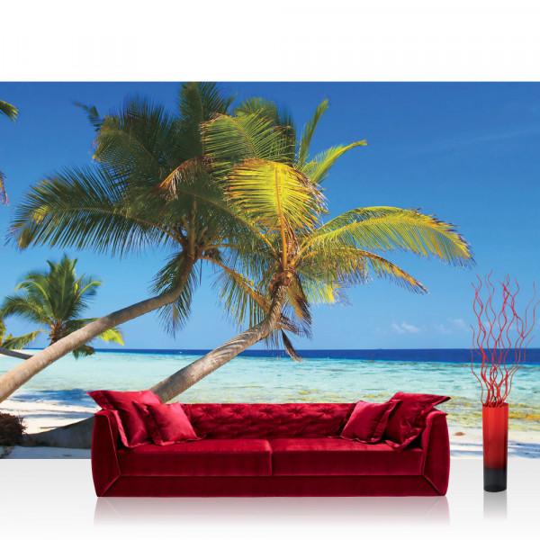 Vlies Fototapete Meer Tapete Strand Palmen Meer Paradies Wasser blau grün