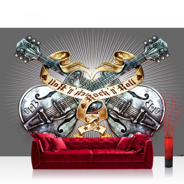 Vlies Fototapete Illustrationen Tapete Alchemy Gitarre Rock `n` Roll Vintage Tattoo grau