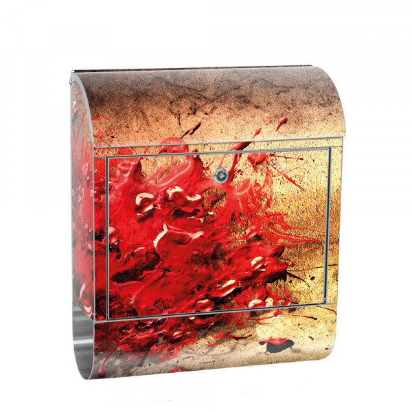 Stainless Steel Letterbox with Newspaper roll & Motif abstract paint splash | No. 0041