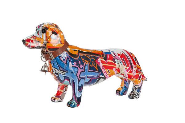 Moderne Skulptur Dekofigur Dackel Hund POP ART aus Kunststein Mehrfarbig 26x16,5 cm