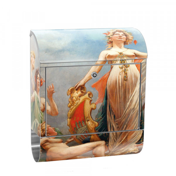 Stainless Steel Letterbox with Newspaper roll & Motif Fresco France Art | No.0096